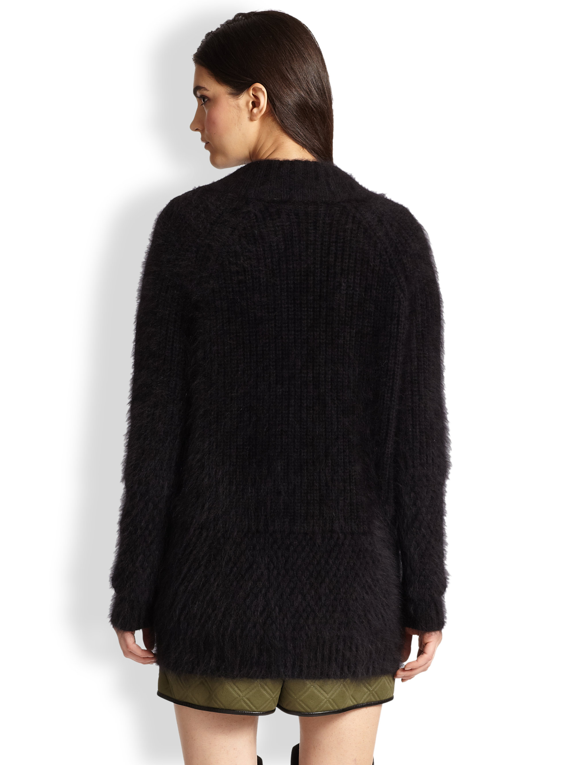 3.1 phillip lim Stretchwool Angora Cardigan in Black | Lyst
