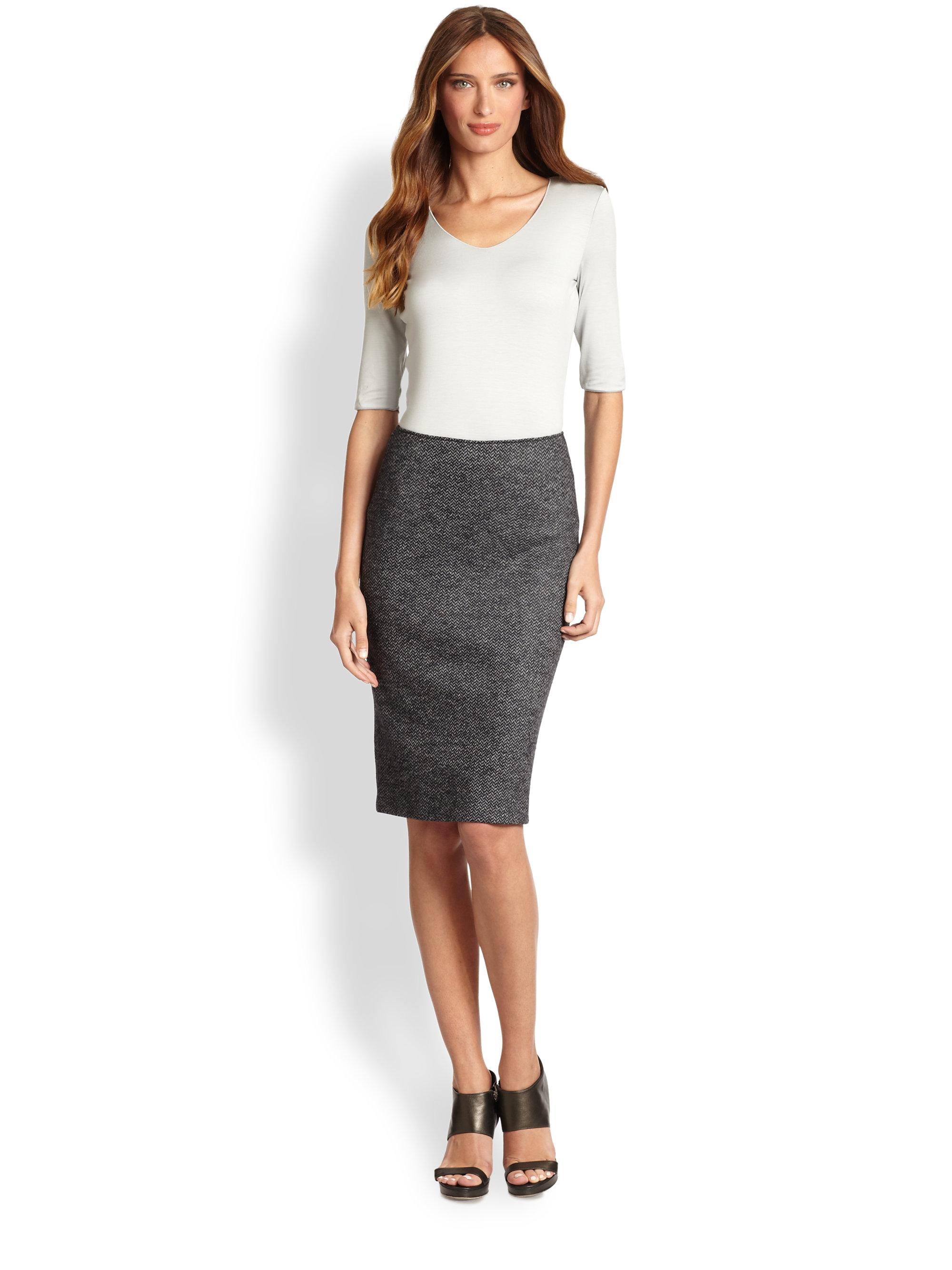 Armani Herringbone Jersey Pencil Skirt in Gray | Lyst