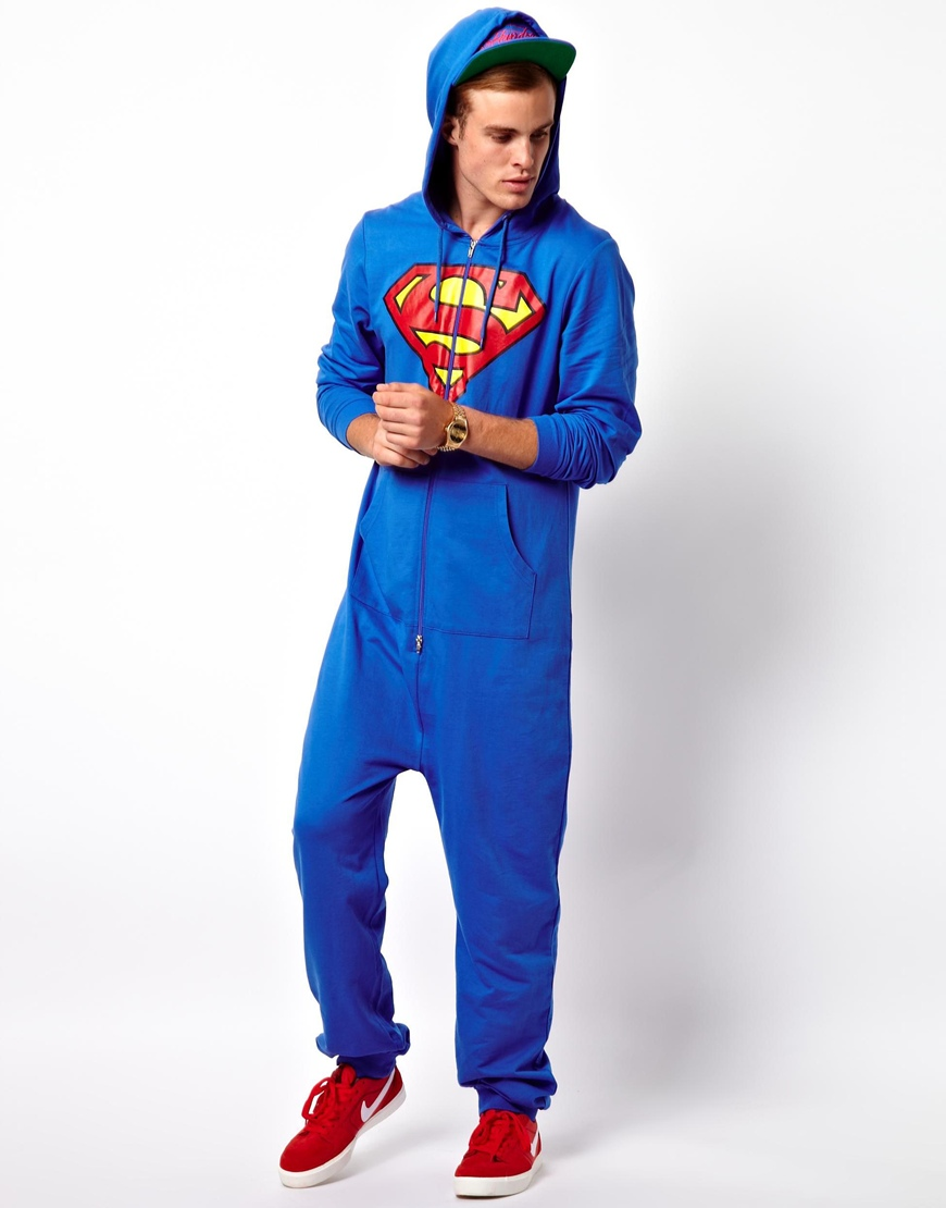 Asos Onesie With Superman Print In Blue For Men Lyst