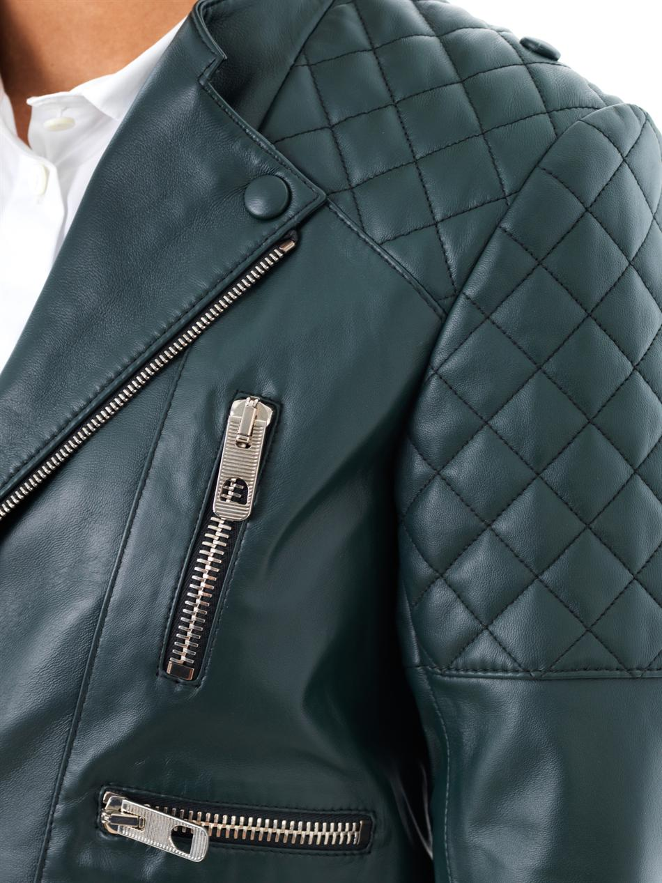 Lyst Balenciaga Quilted Shoulder Leather Biker Jacket In Green