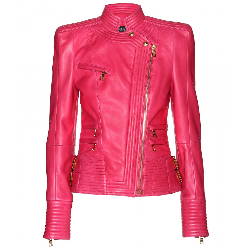 Balmain Leather Jacket in Pink | Lyst