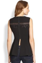 Bcbgmaxazria Lacetrim Splitback Peplum Top in Black - Lyst
