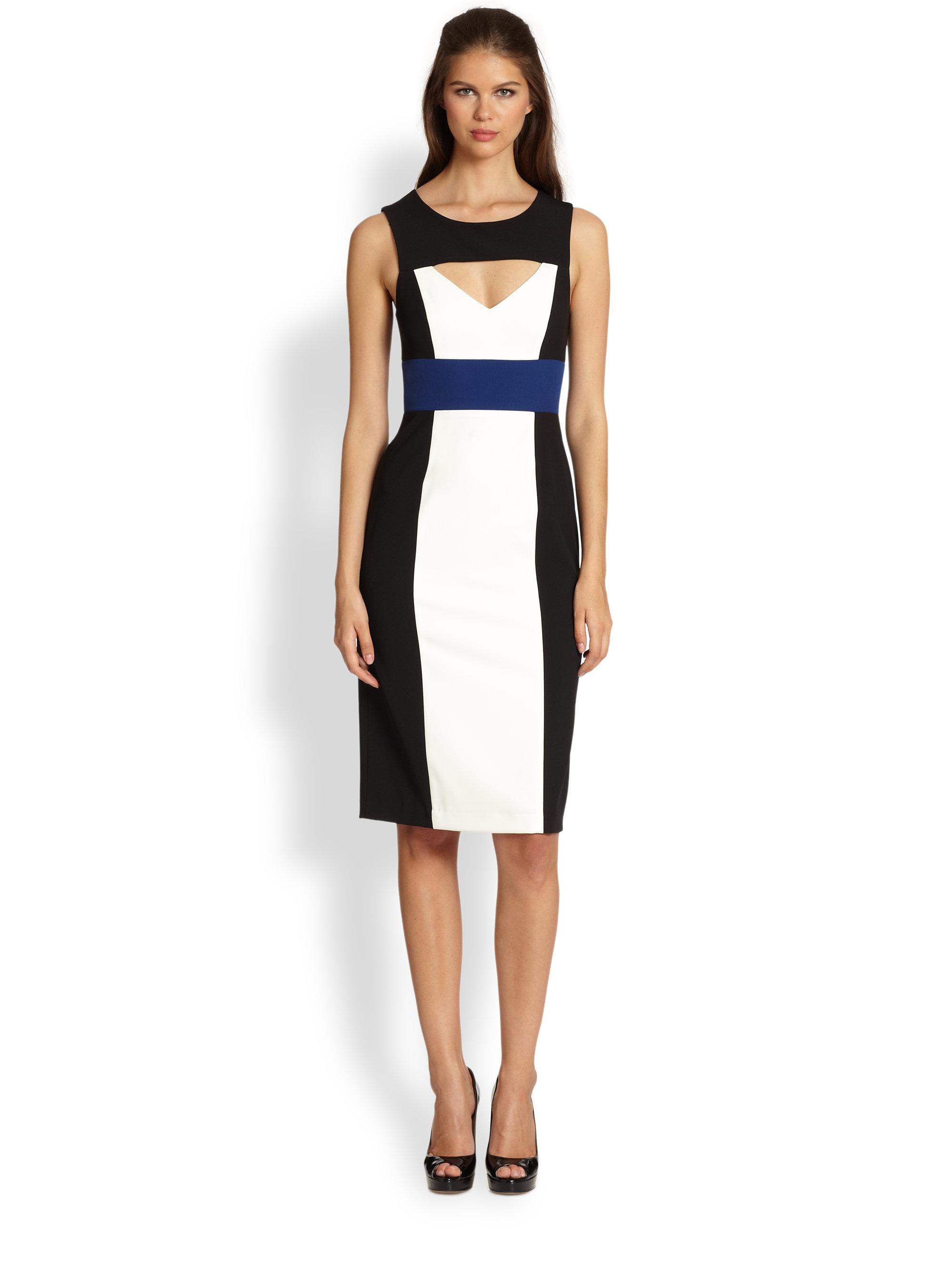 5c9631e568 Lyst - BCBGMAXAZRIA Antonella Cutout Colorblock Dress in White