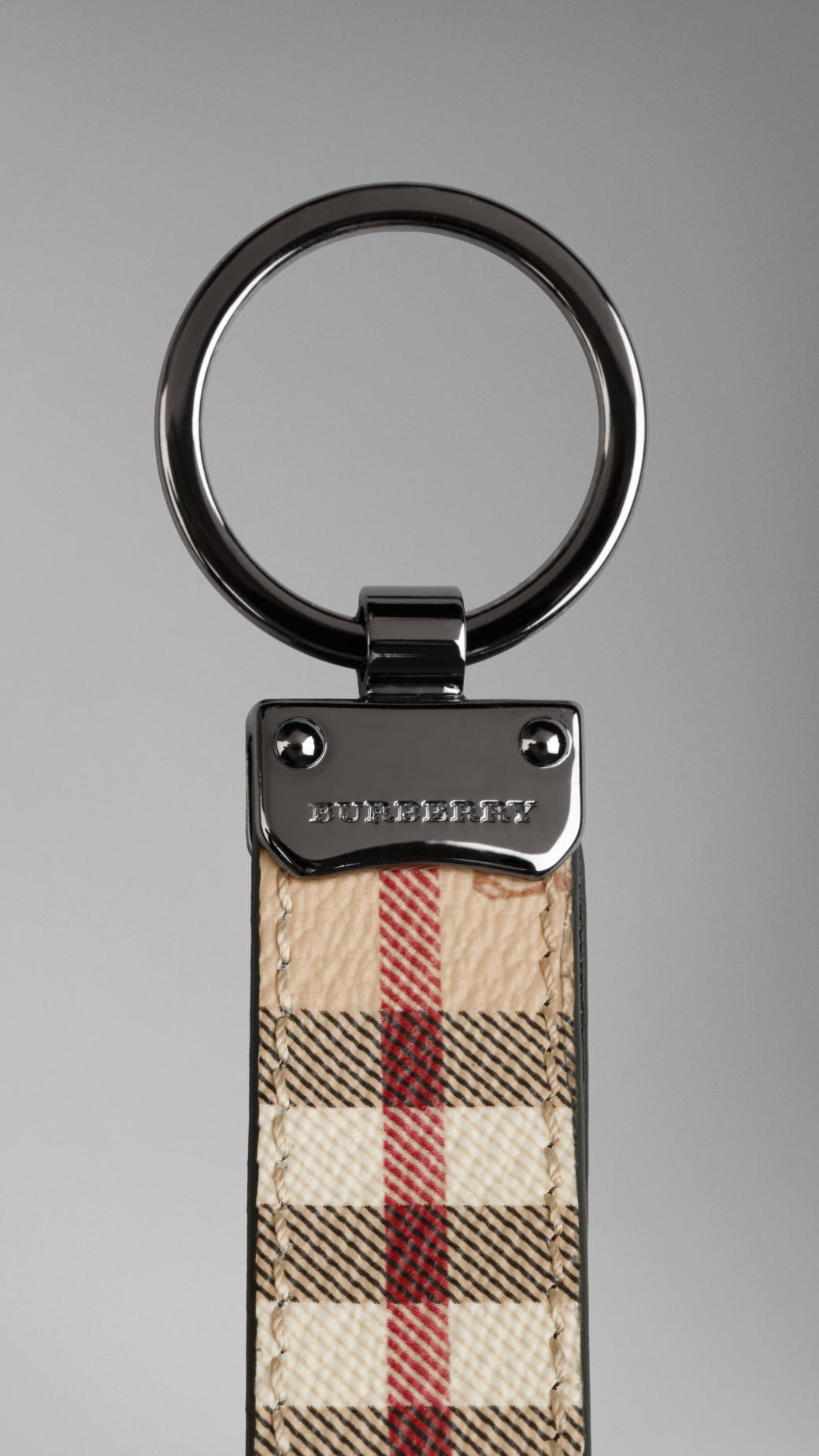 Burberry Vintage Check and Leather Key Ring - Black KjoBDMQ42P