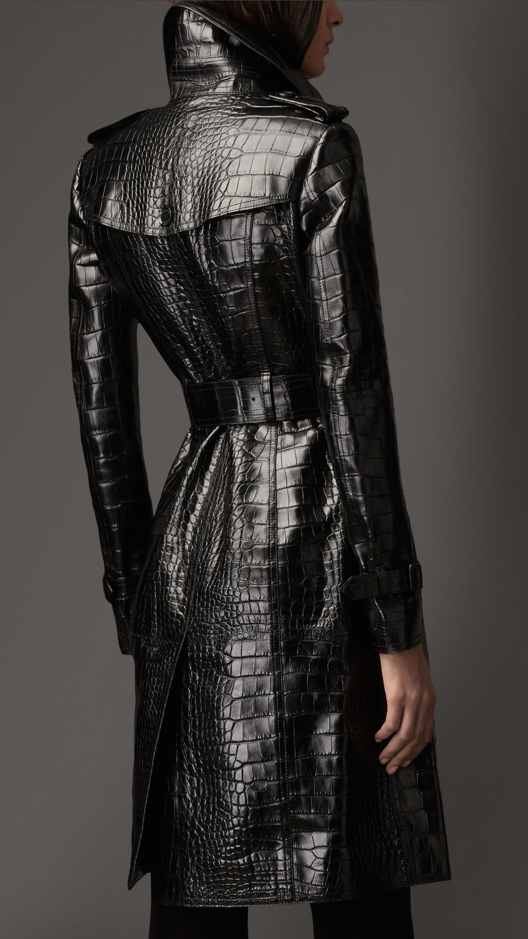 Burberry Long Alligator Trench Coat In Black Lyst