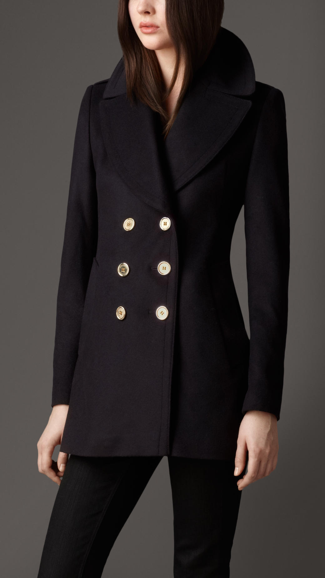 Burberry Military Button Wool Cashmere Pea Coat in Blue | Lyst