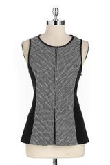 Calvin Klein Tweed Faux-leather Trim Peplum Top - Lyst