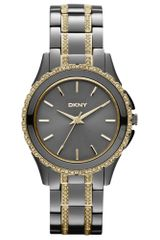 DKNY Womens Crystal Twotone Ionplated Stainless Steel Bracelet 33mm - Lyst