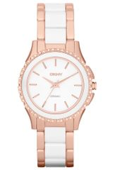 DKNY Womens White Ceramic and Rose Gold Ionplated Stainless Steel Bracelet 32mm - Lyst