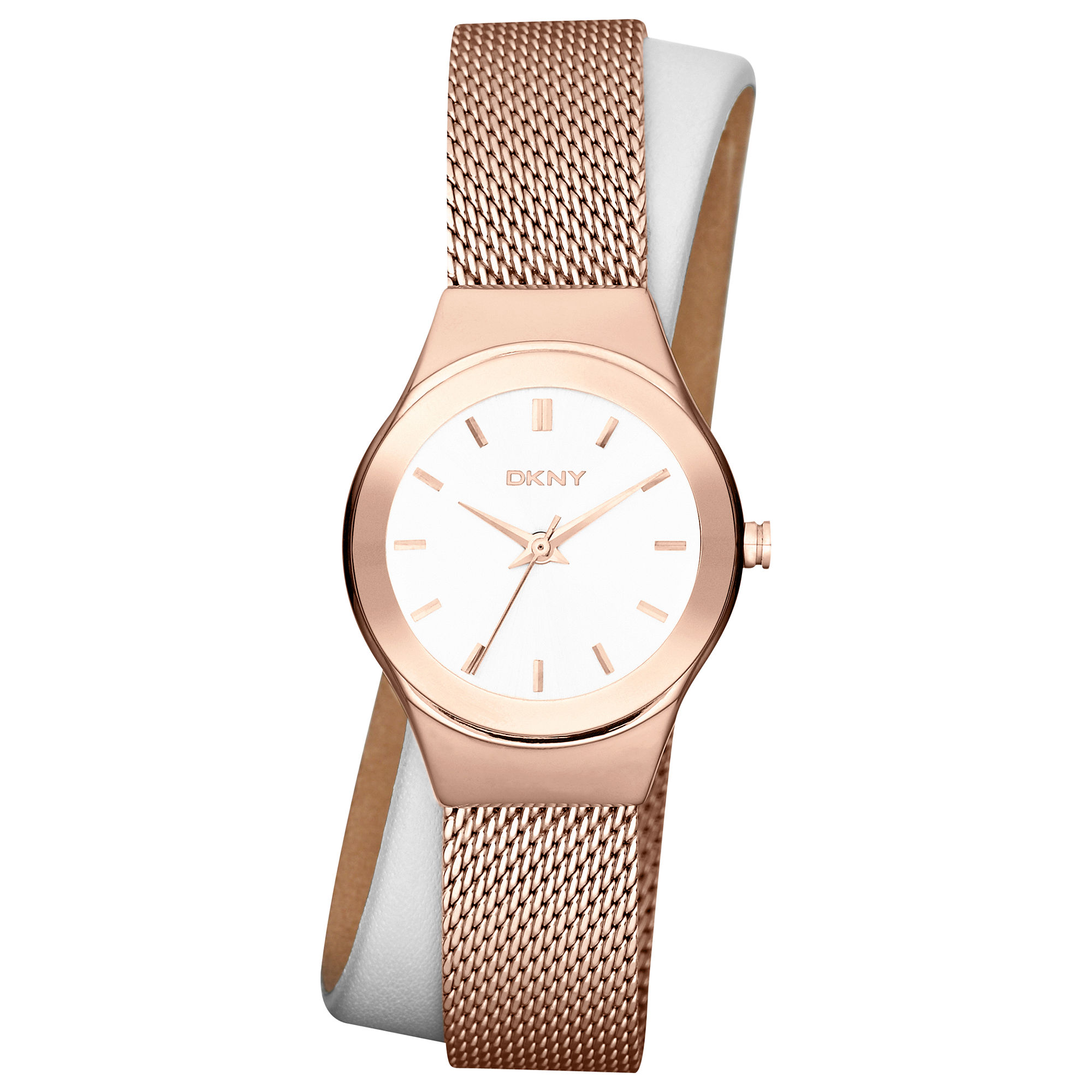 Dkny Womens White Leather and Rose Gold Ionplated ...