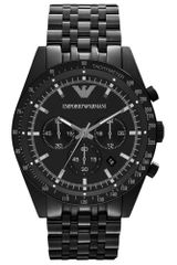 Emporio Armani Mens Chronograph Black Ion Plated Stainless Steel Bracelet 46mm - Lyst