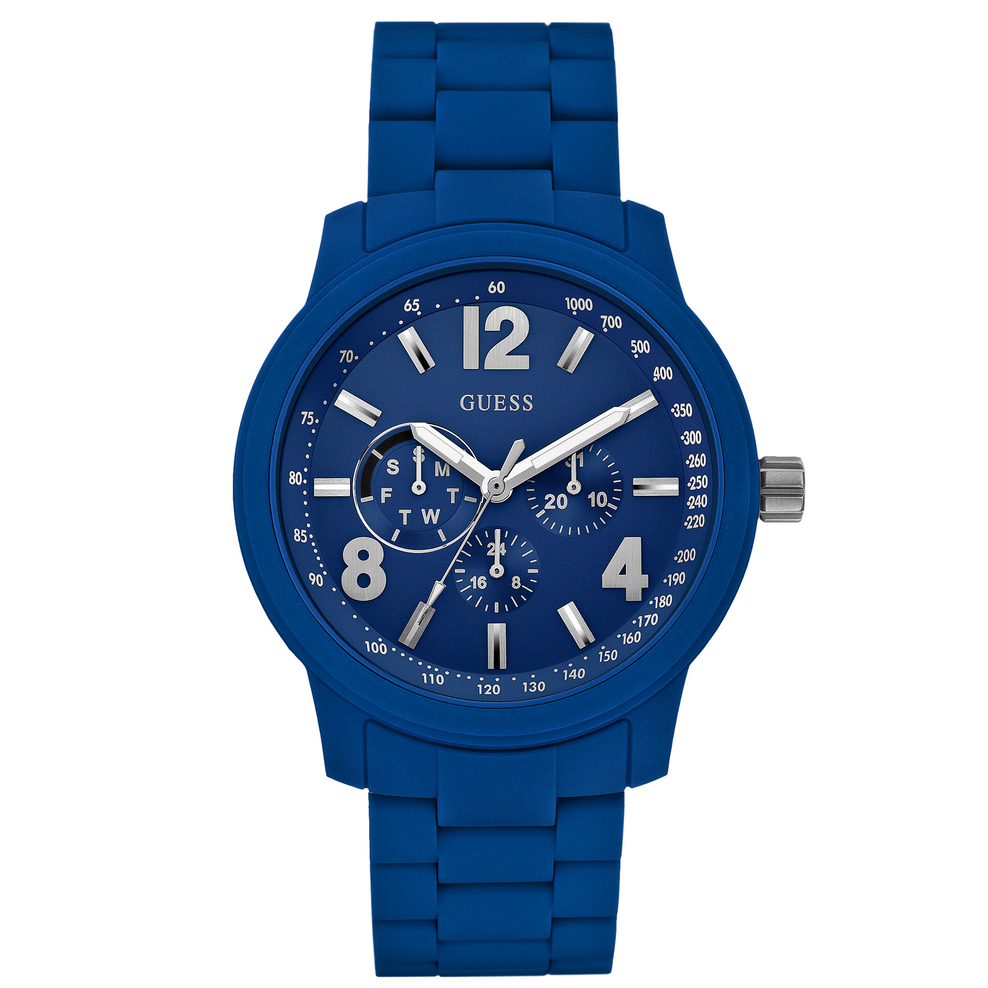 Guess Watch Mens Blue Polyurethanewrapped Steel Bracelet ...