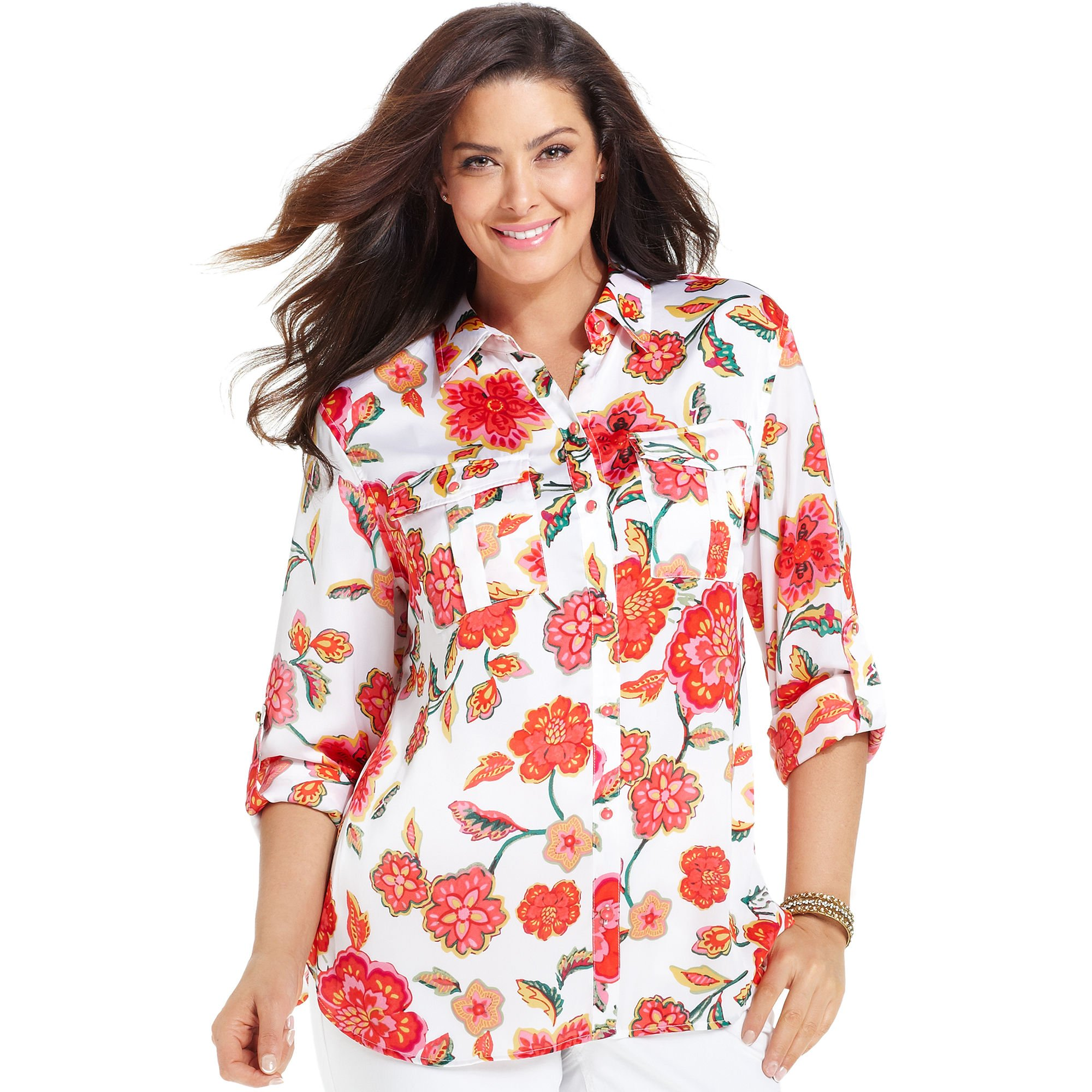 eb57885106b Jones New York Long sleeve Floral print Utility Shirt in Red - Lyst