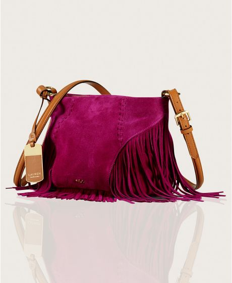 Lauren By Ralph Lauren Faulk Suede Crossbody in Purple (BRIGHT PANSY) - Lyst