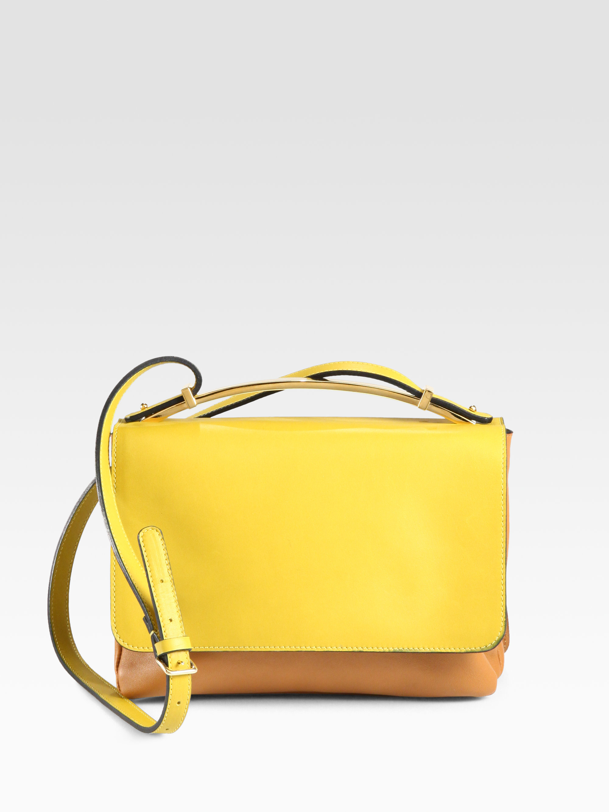 Marni Small Bicolor Shoulder Bag in Yellow | Lyst
