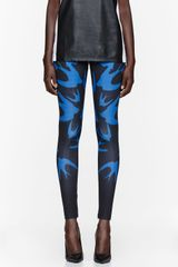 McQ by Alexander McQueen Royal Blue Swallow Print Leggings - Lyst