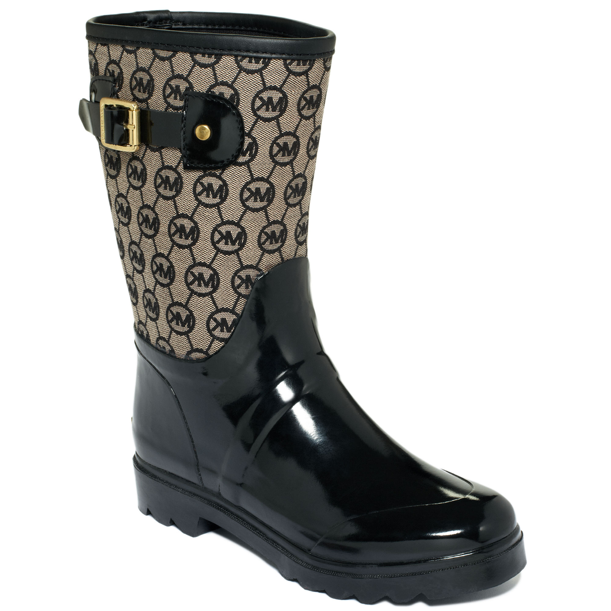 Michael kors Monogram Mid Rain Boots in Black | Lyst