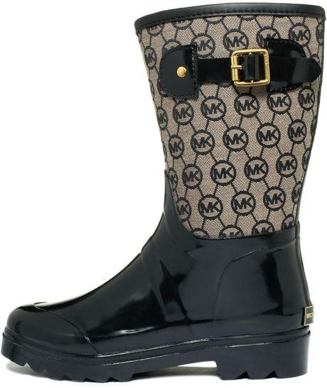 Michael Kors Monogram Mid Rain Boots In Black Lyst