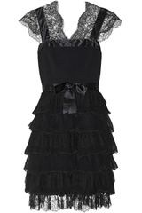 Oscar de la Renta Ruffled Woolcrepe Silkchiffon and Lace Dress - Lyst