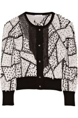 Oscar de la Renta Sequin-embellished Cashmere and Silk-blend Cardigan - Lyst