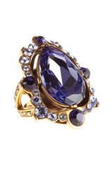 Oscar de la Renta Pear Cut Crystal Ring - Lyst
