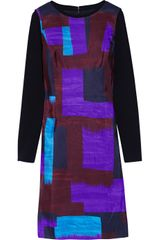 Oscar de la Renta Printed Silkfaille and Stretchwool Blend Dress - Lyst