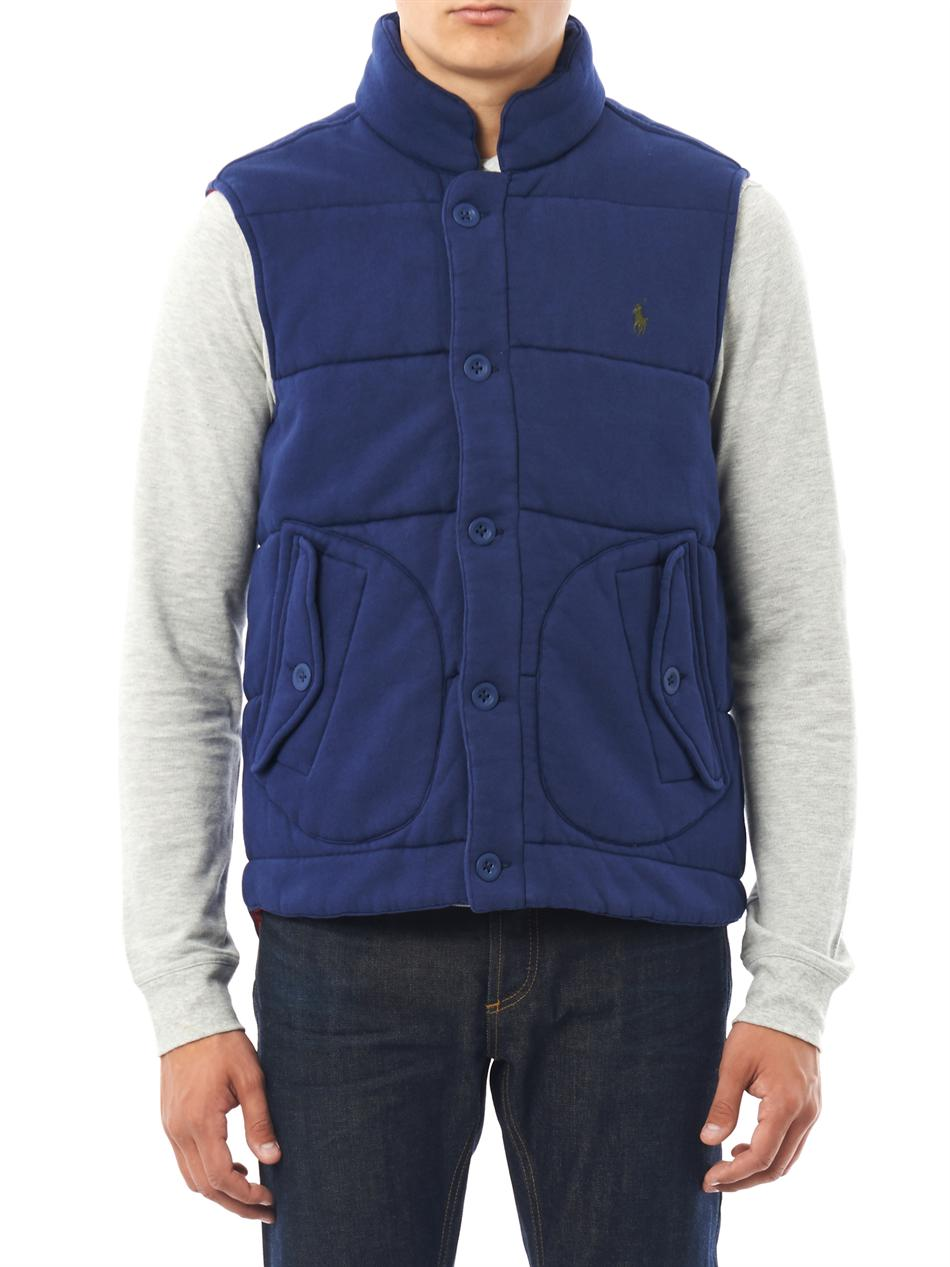 lyst polo ralph lauren quilted jersey gilet in blue for men. Black Bedroom Furniture Sets. Home Design Ideas