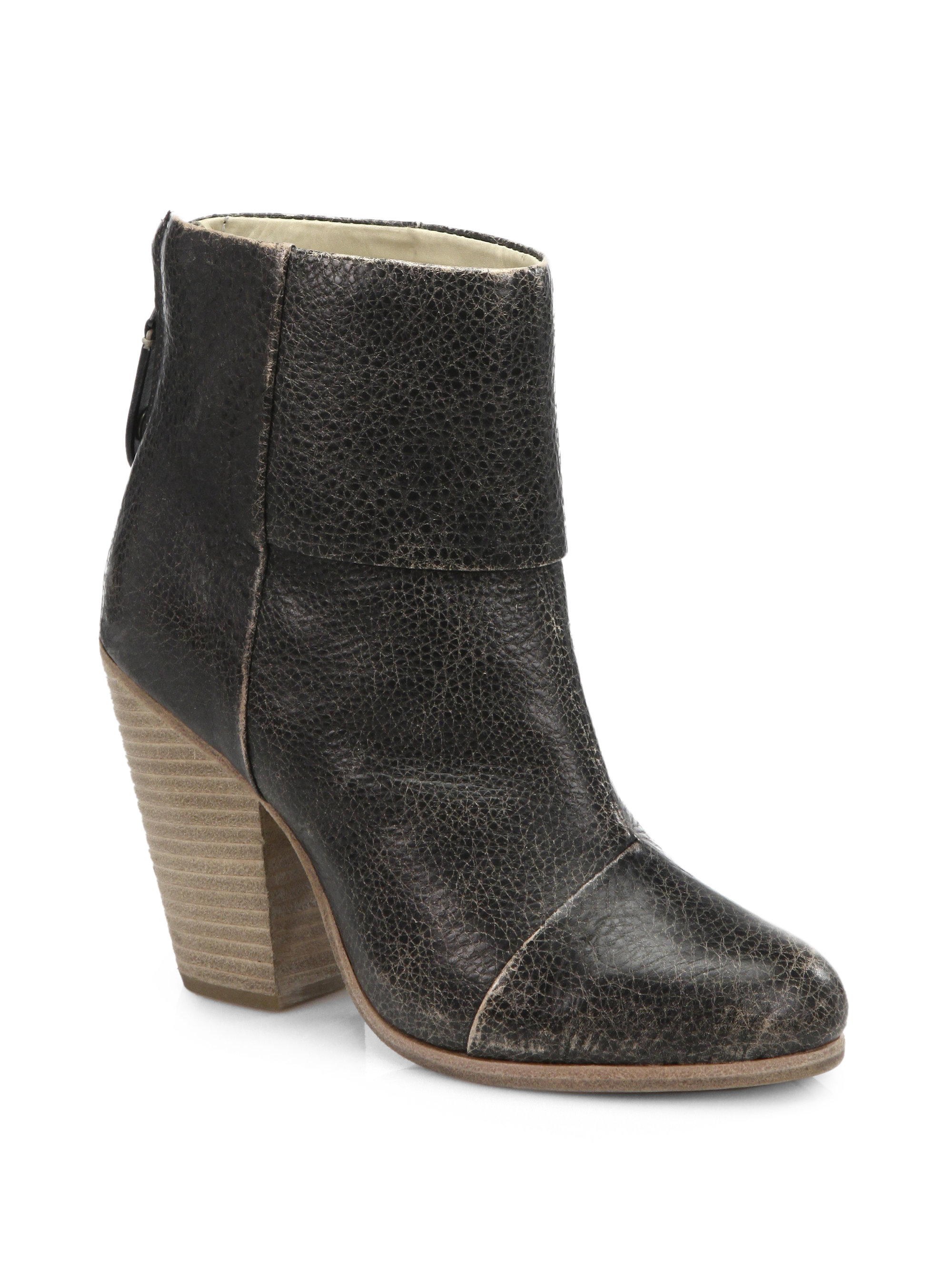 rag bone newbury distressed leather ankle boots in gray