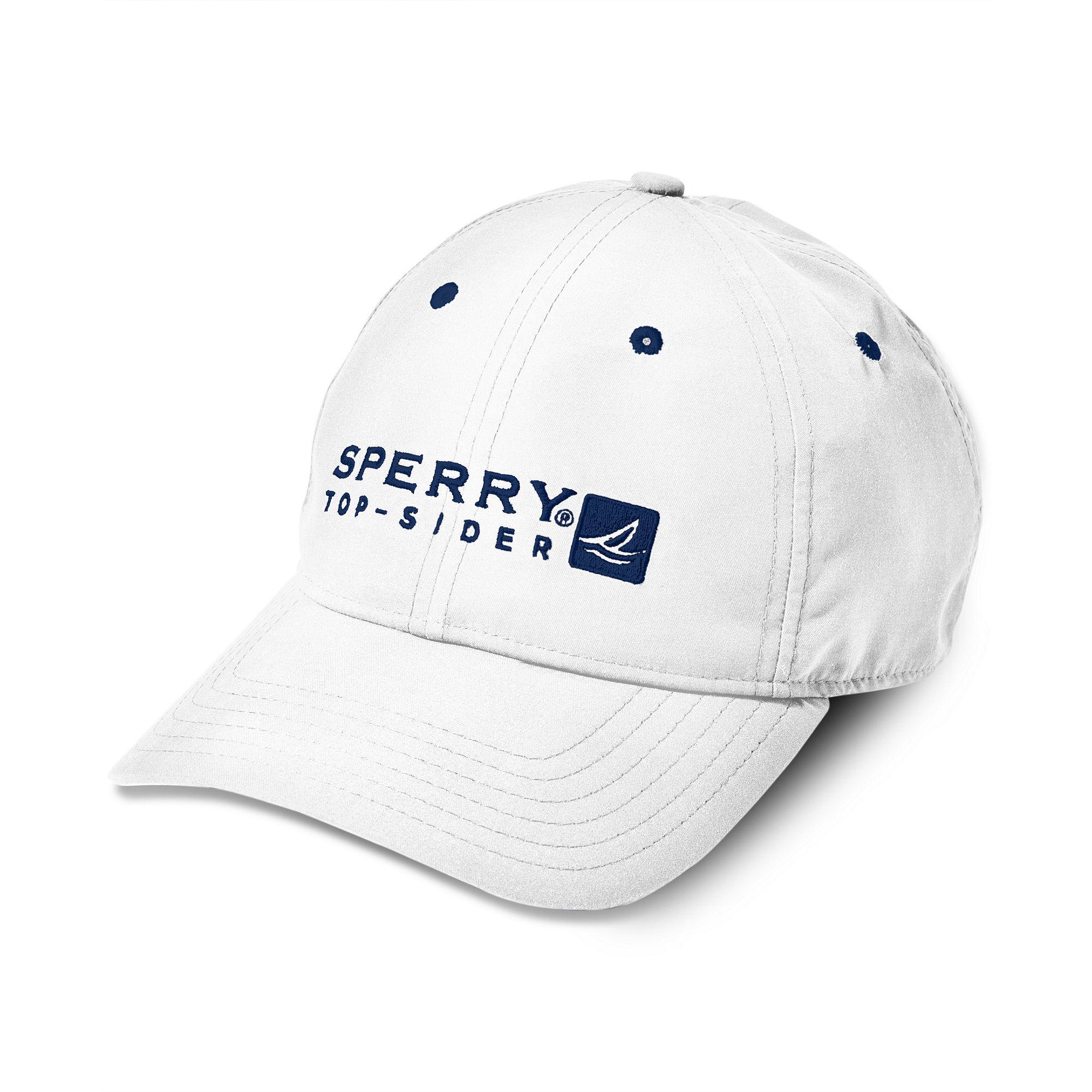sperry top sider logo baseball cap in white for navy
