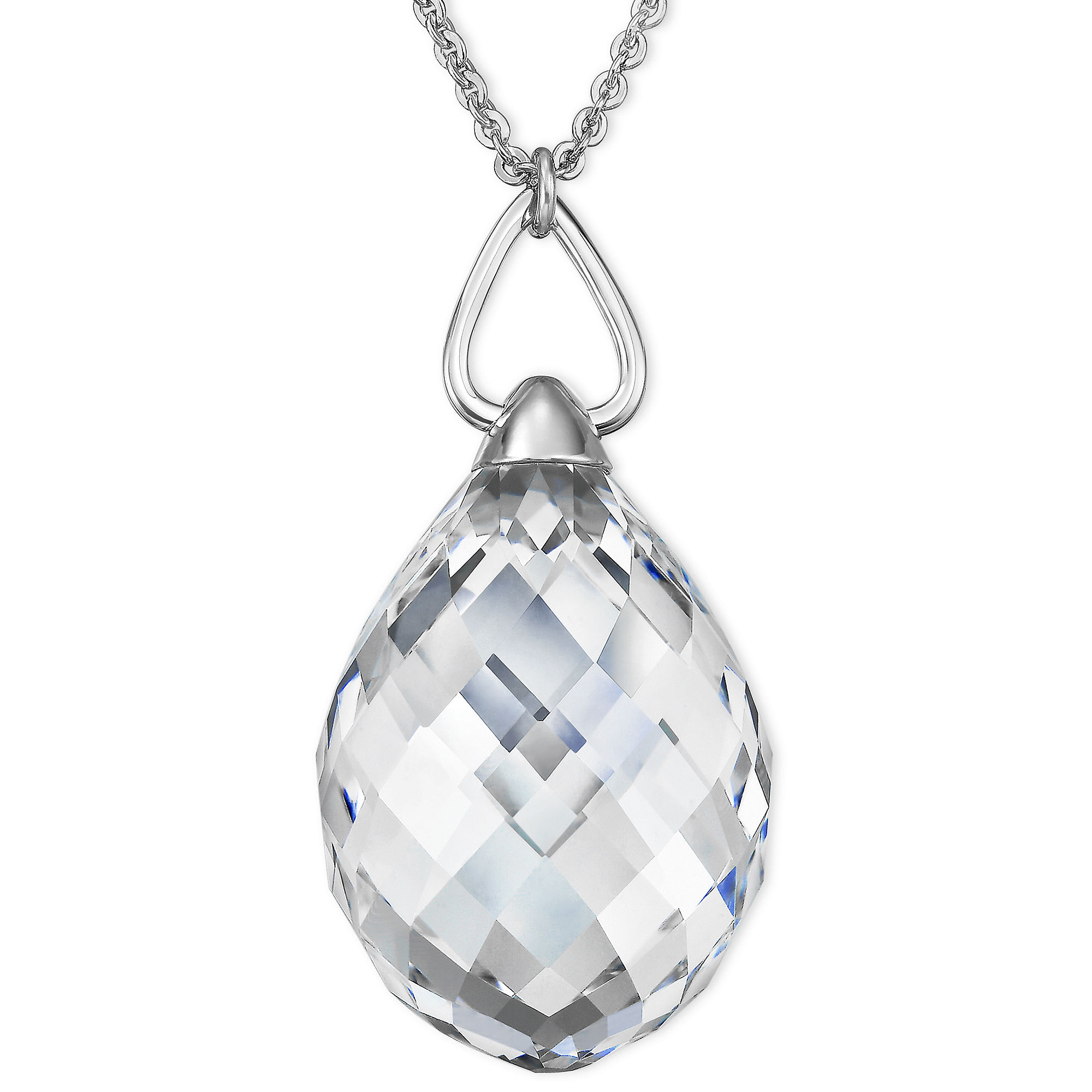 Lyst swarovski rhodiumplated crystal teardrop pendant necklace in gallery aloadofball Gallery