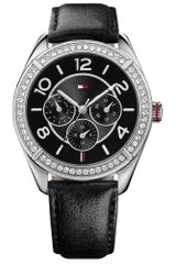 Tommy Hilfiger Womens Black Leather Strap 40mm - Lyst