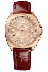 Tommy Hilfiger Womens Merlot Crocoembossed Leather Strap 38mm - Lyst