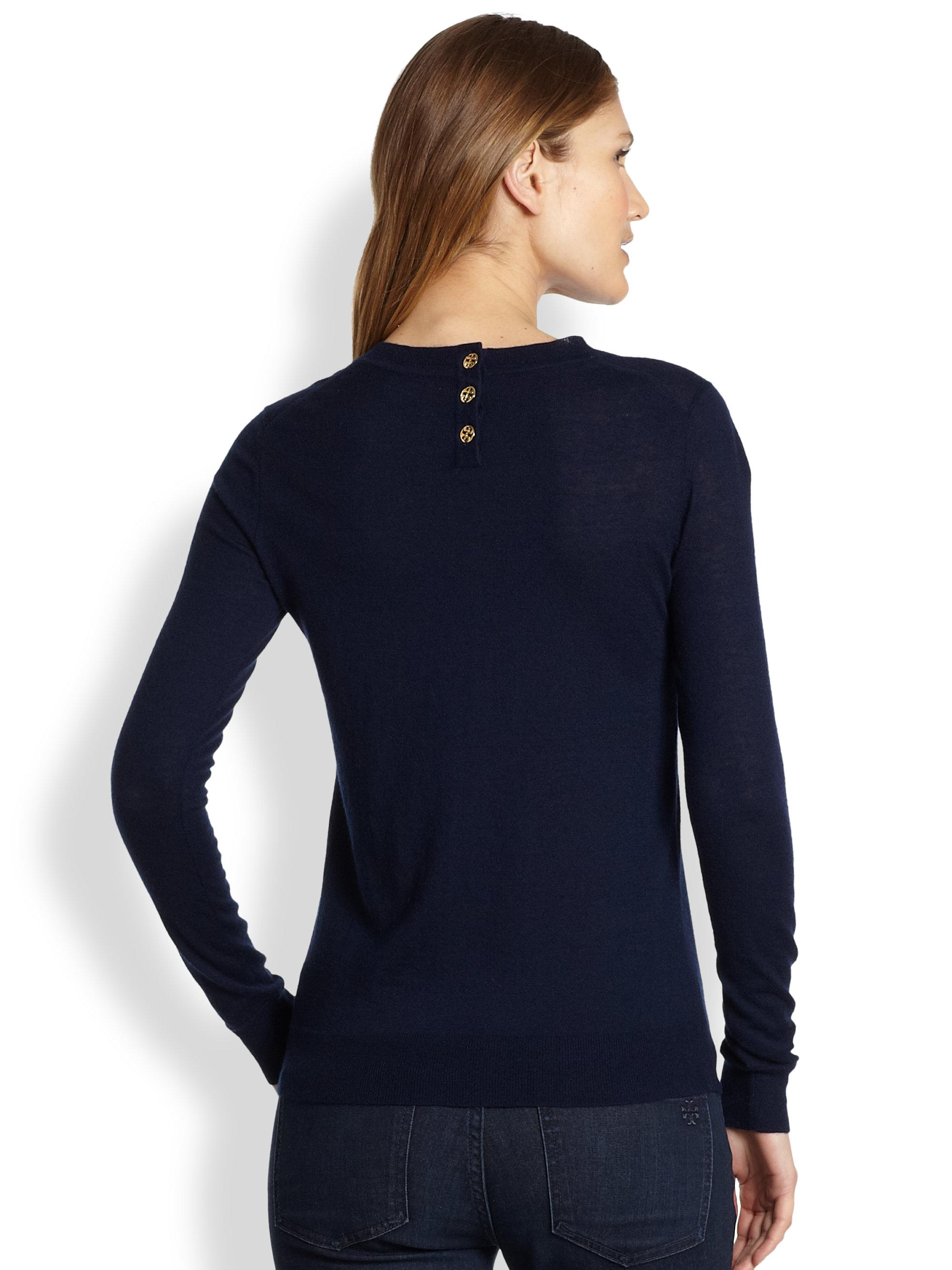 Tory burch Iberia Cashmere Sweater in Blue | Lyst