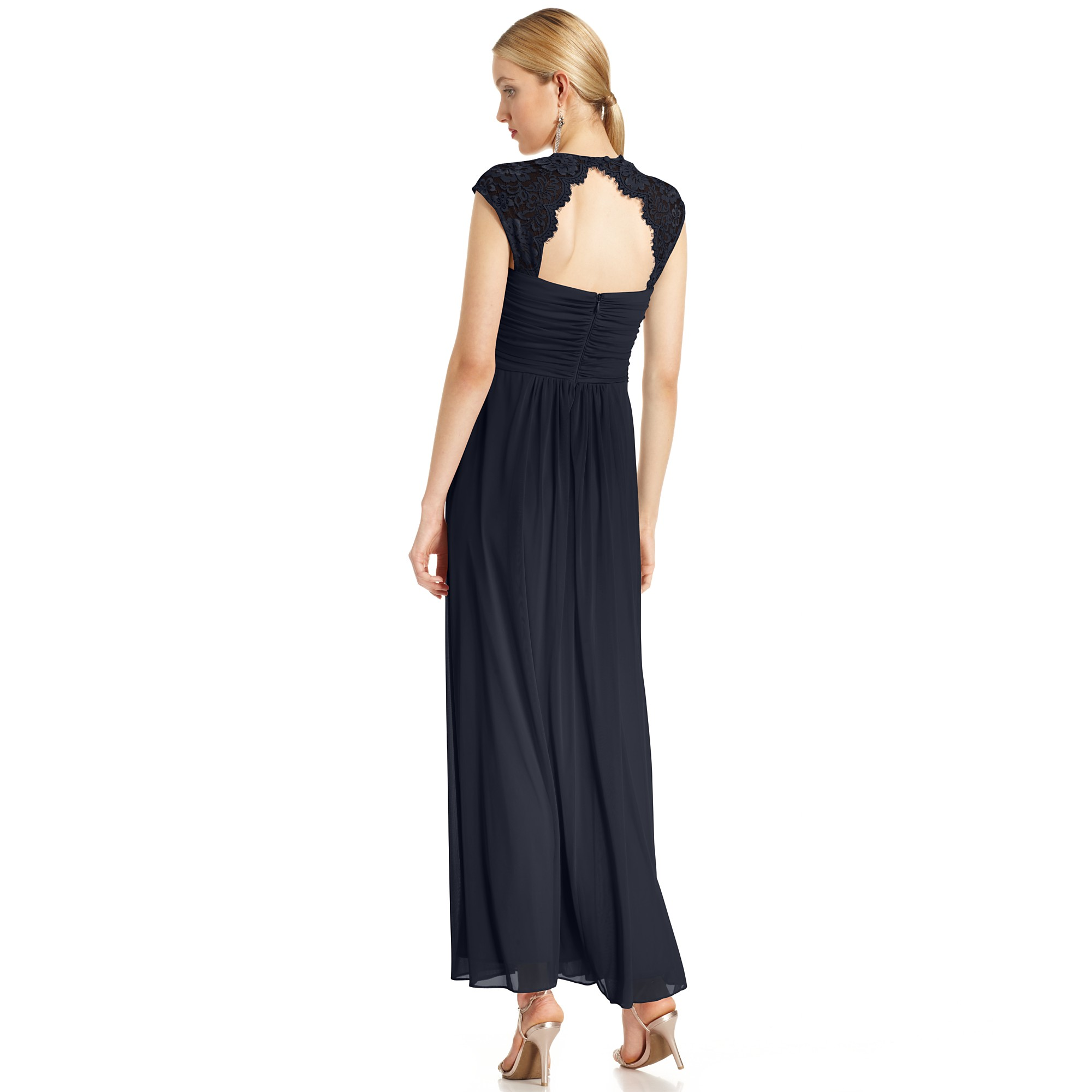 Lyst - Xscape Xscape Dress Capsleeve Lace Ruched Gown in Blue