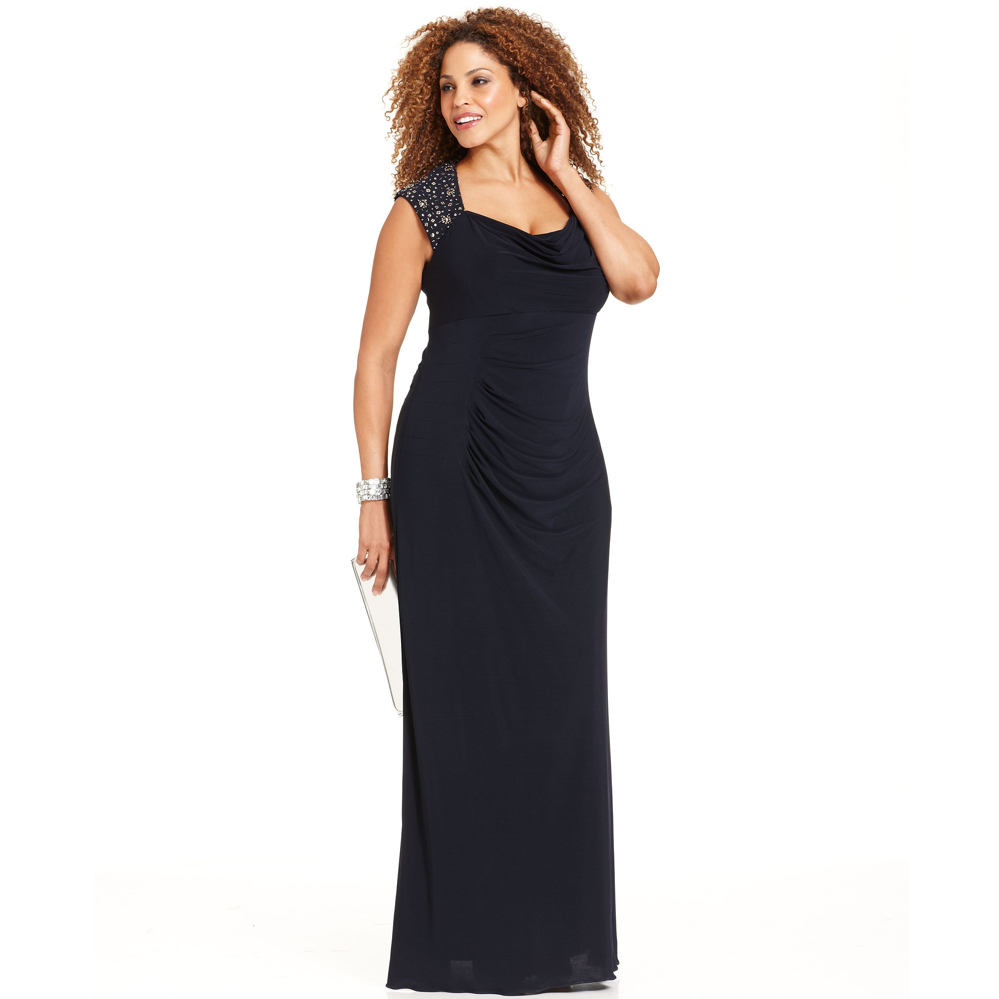 d8214ef85468 Lyst Xscape Plus Size Dress Capsleeve Beaded Cutout Gown In