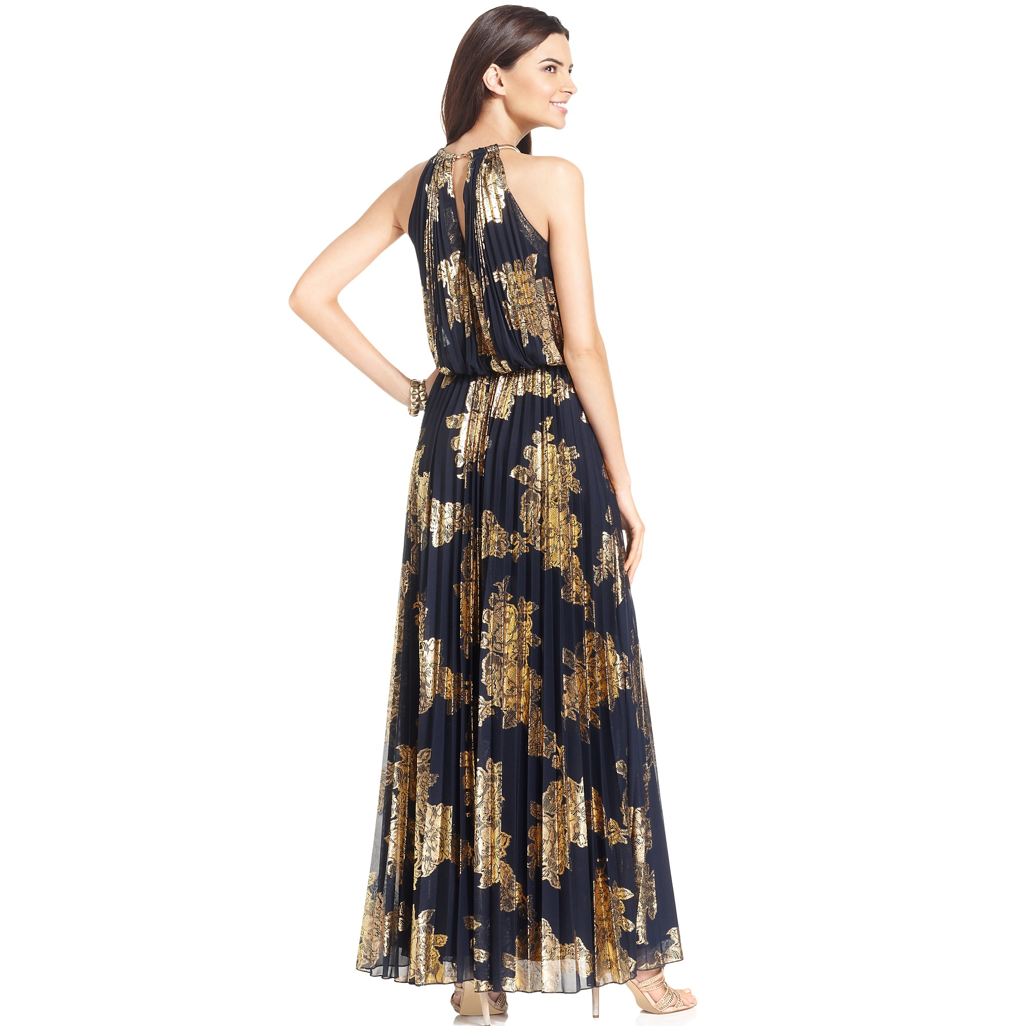 Lyst - Xscape Xscape Dress Sleevless Halter Pleated Gown in Blue