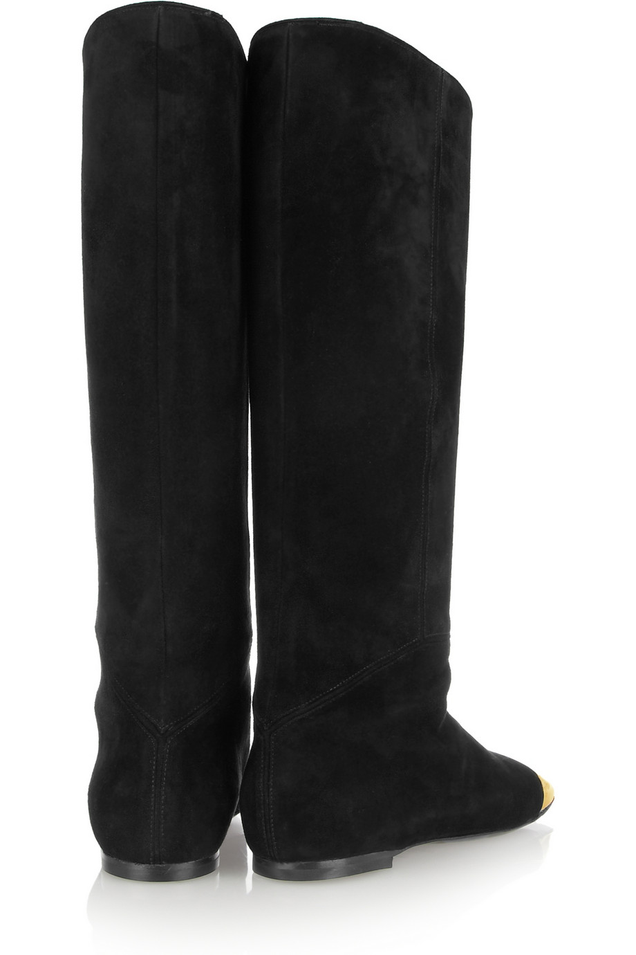 Lyst Saint Laurent Rita Flat Suede And Metal Boots In Black