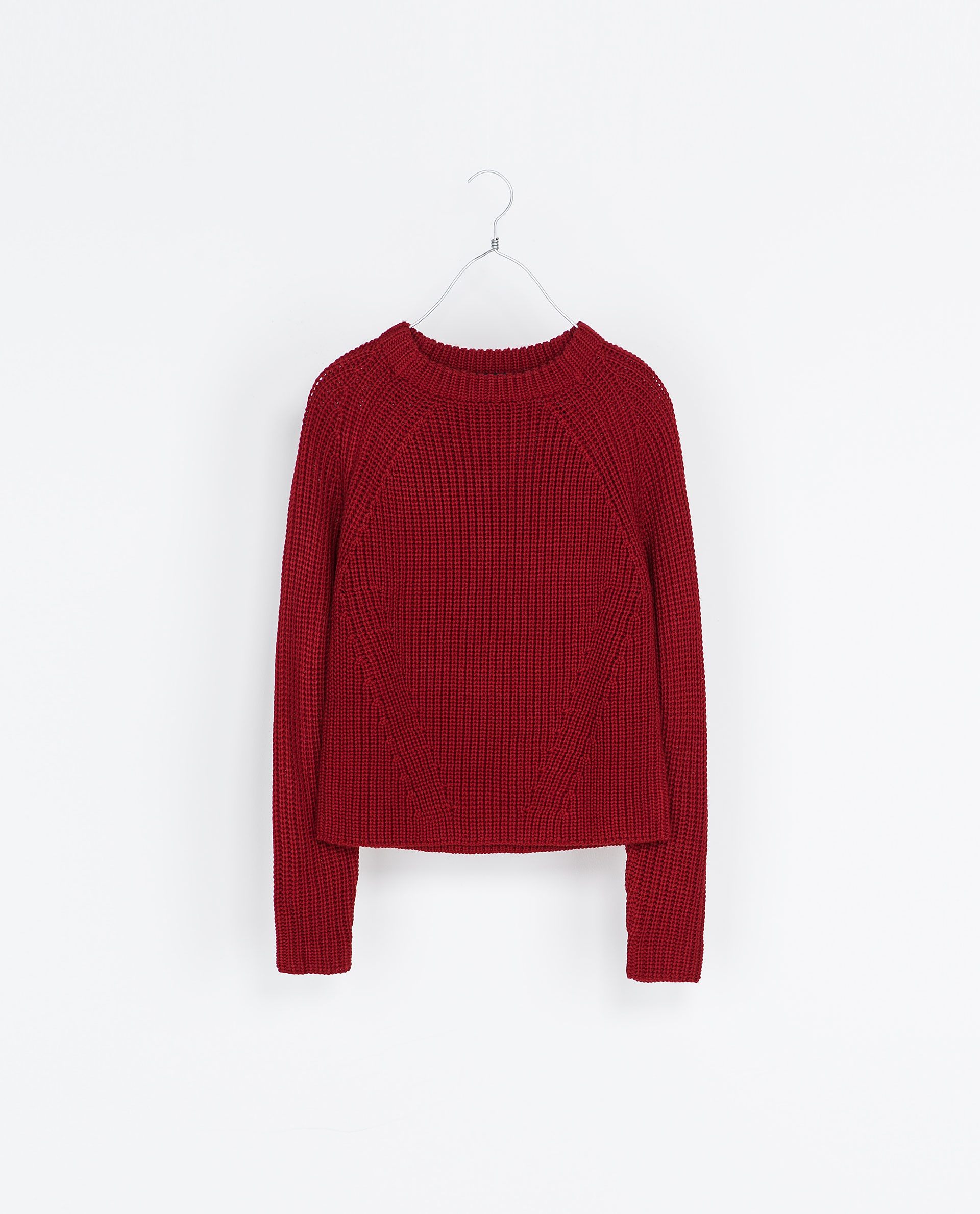 Zara Cropped Knitted Sweater in Red | Lyst