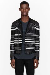 3.1 Phillip Lim Black Embroidered Stripe Leather Jacket - Lyst