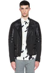 3.1 Phillip Lim Waxed Cotton Padded Moto Cross Jacket - Lyst