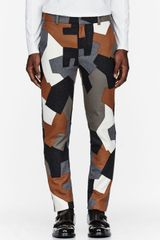3.1 Phillip Lim Brown Wool Patchwork Trousers - Lyst