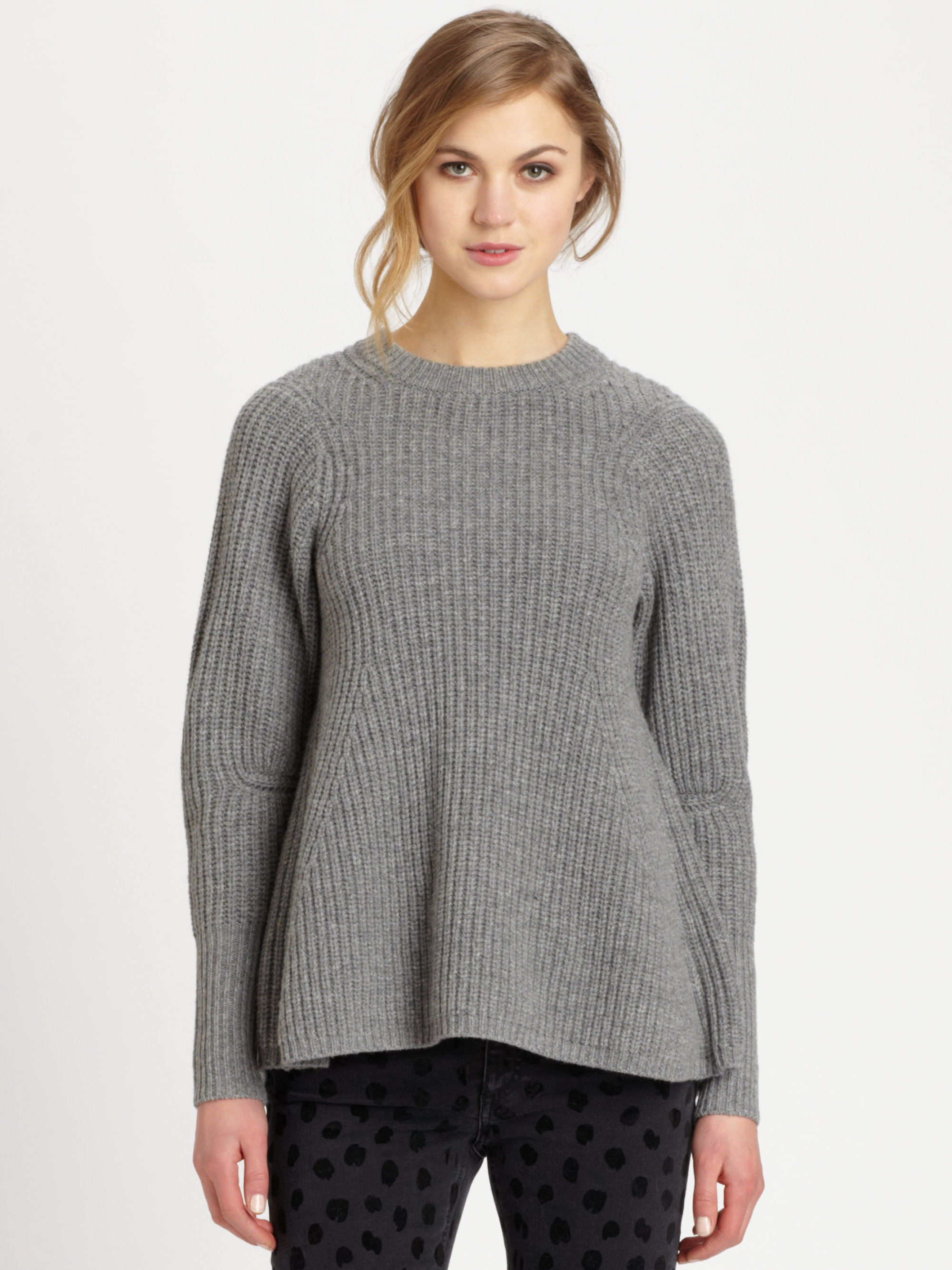 acne studios dixie wool sweater in gray grey melange lyst. Black Bedroom Furniture Sets. Home Design Ideas