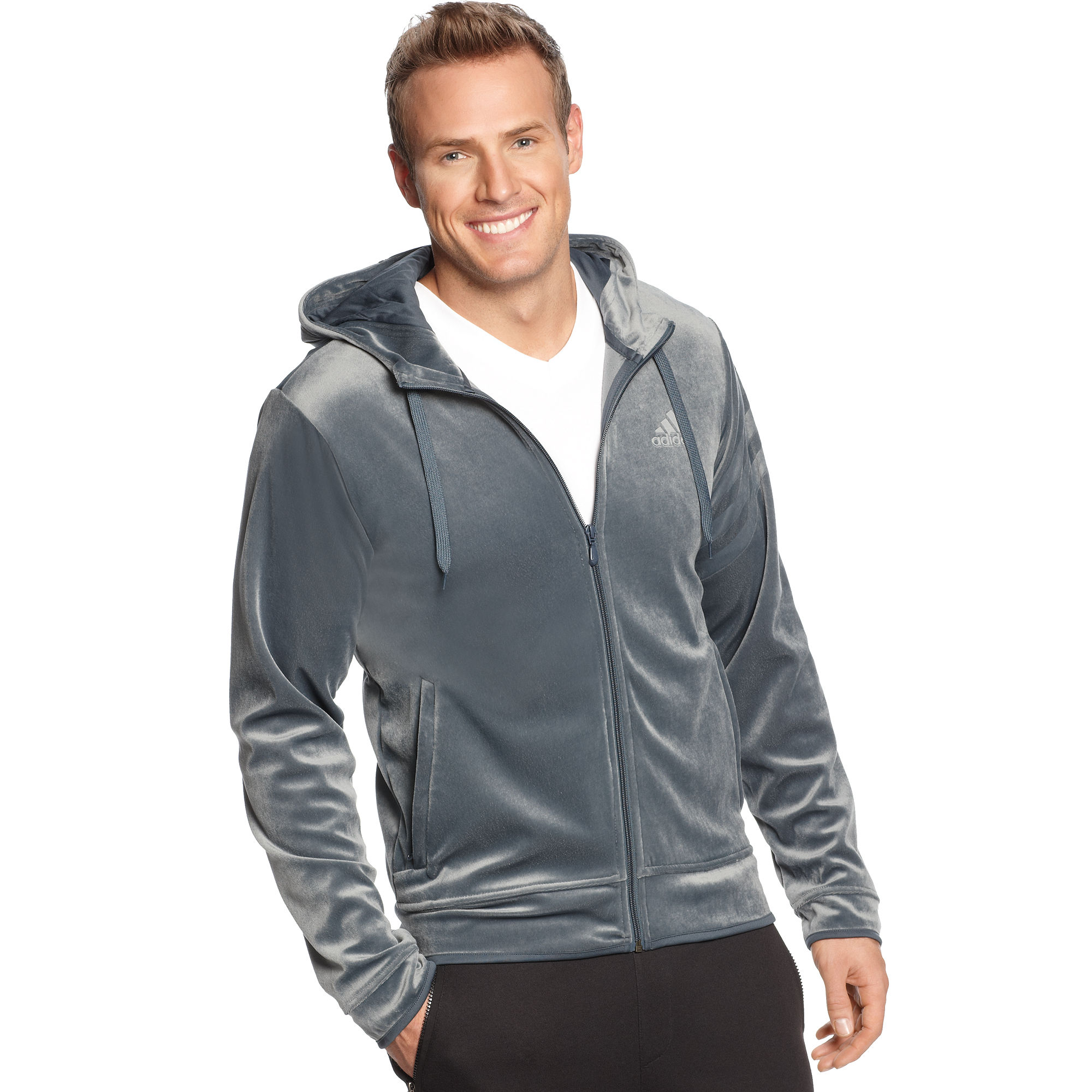 lyst adidas velour hoodie in metallic for men. Black Bedroom Furniture Sets. Home Design Ideas