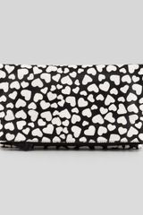 Alice + Olivia Alice Olivia Hearts Me Calf Hair Foldover Clutch Bag Black - Lyst