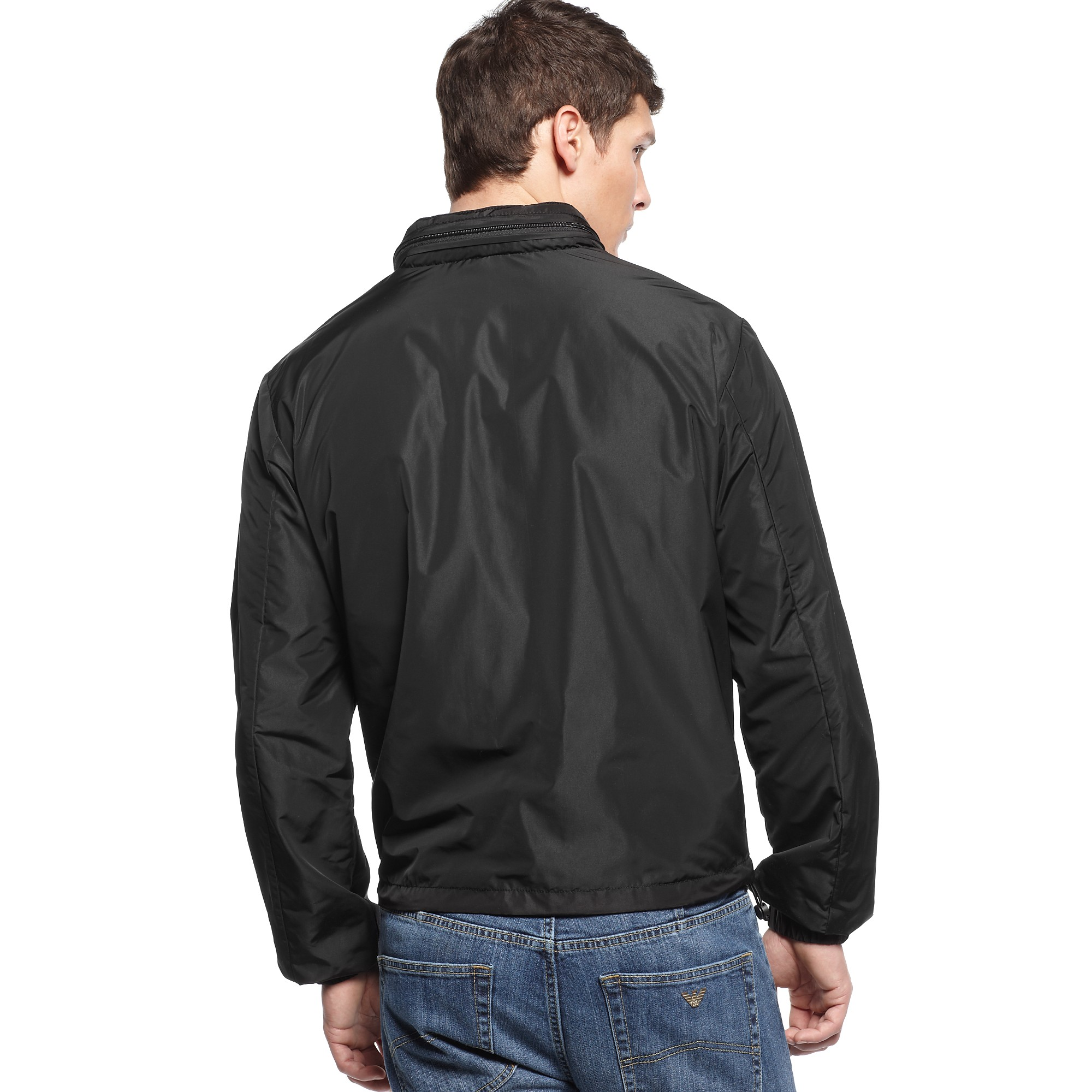 Armani jeans Lightweight Nylon Windbreaker Jacket in Black for Men ...