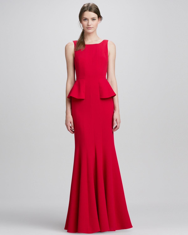Lyst - Bcbgmaxazria Sleeveless Peplum Gown Rio Red in Red