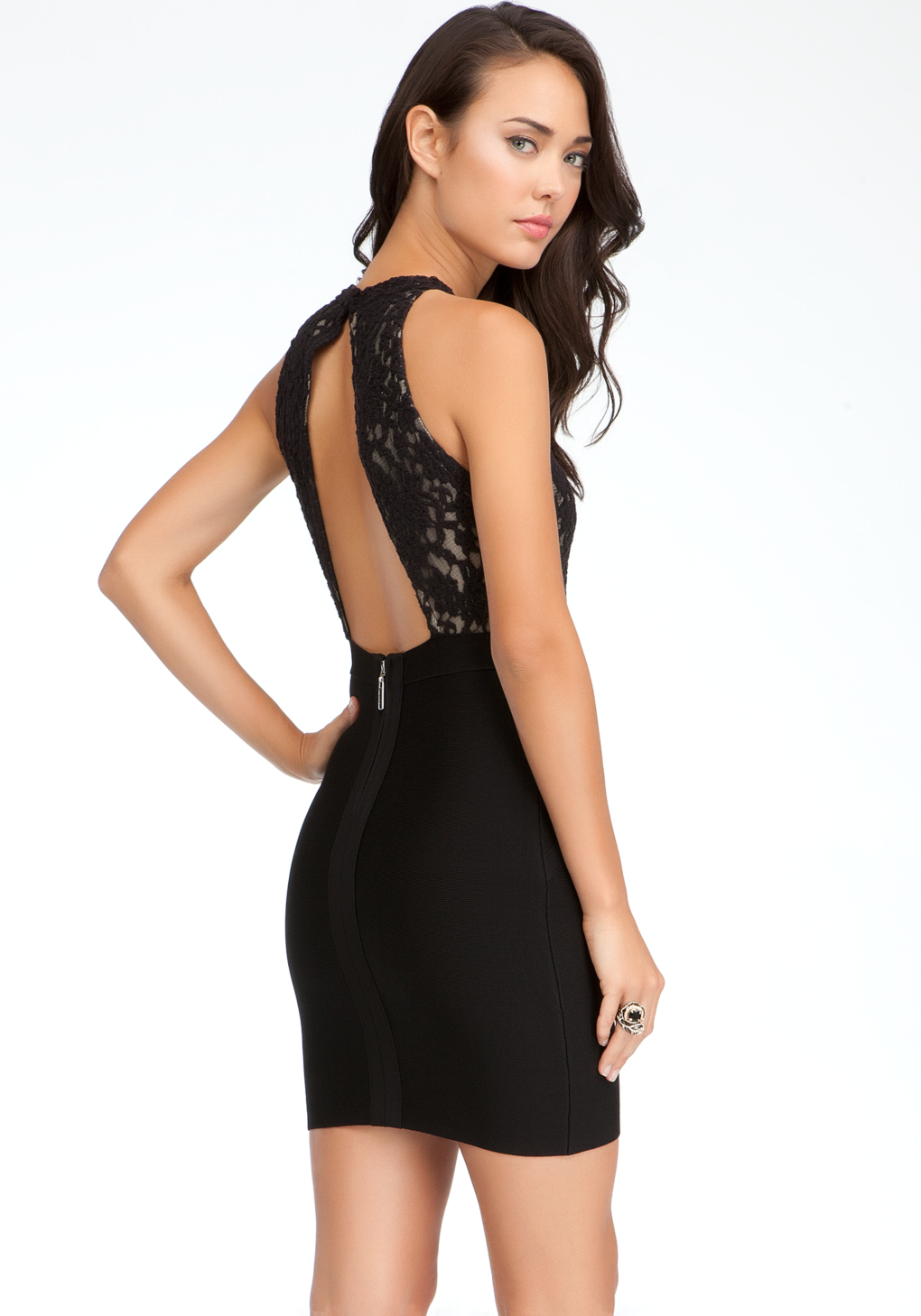 lyst bebe lace open back dress in black