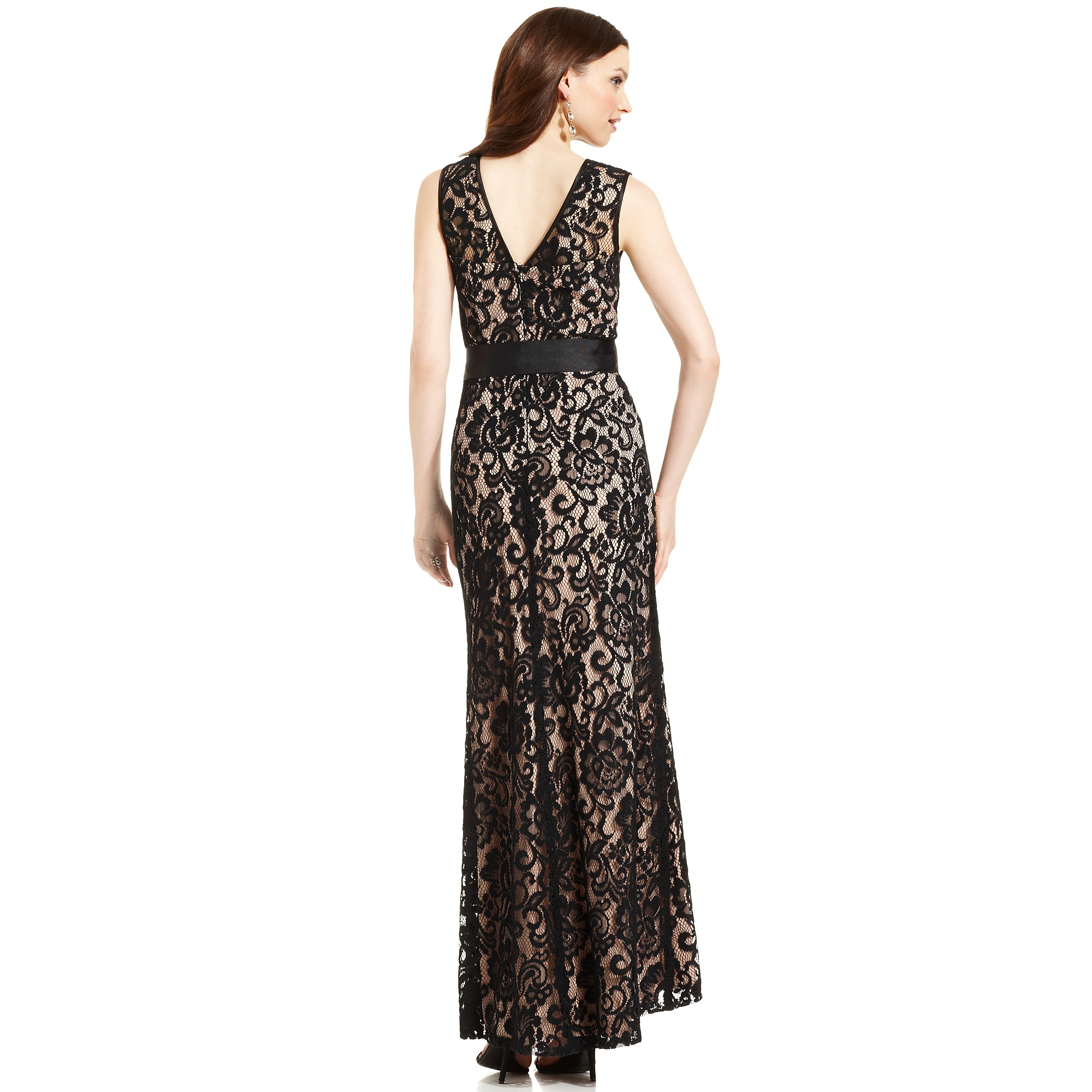 Lyst - Betsy & Adam Betsy and Adam Dress Sleeveless Belted Lace Gown ...
