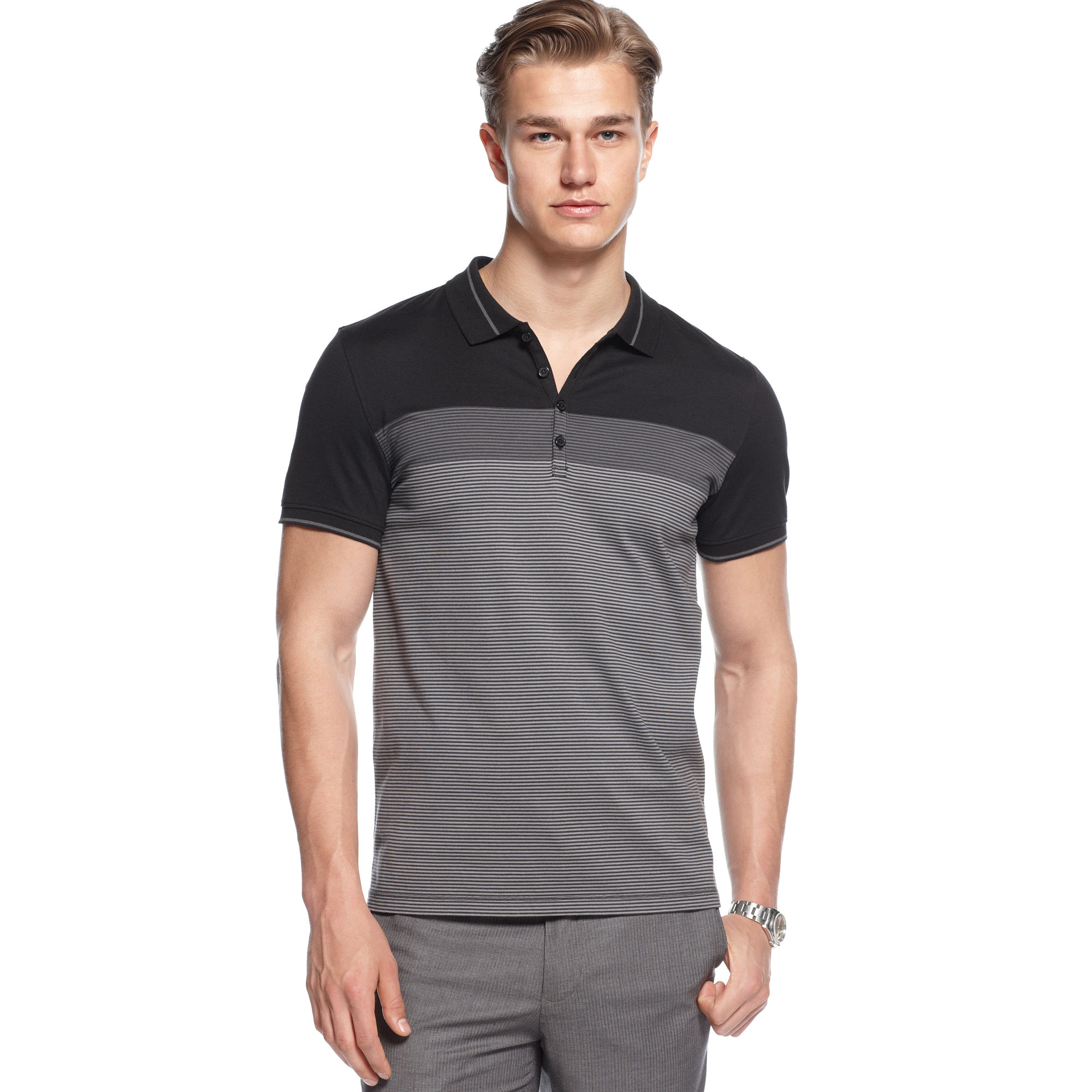 Lyst calvin klein short sleeve slim fit stretch polo for Calvin klein slim fit stretch shirt