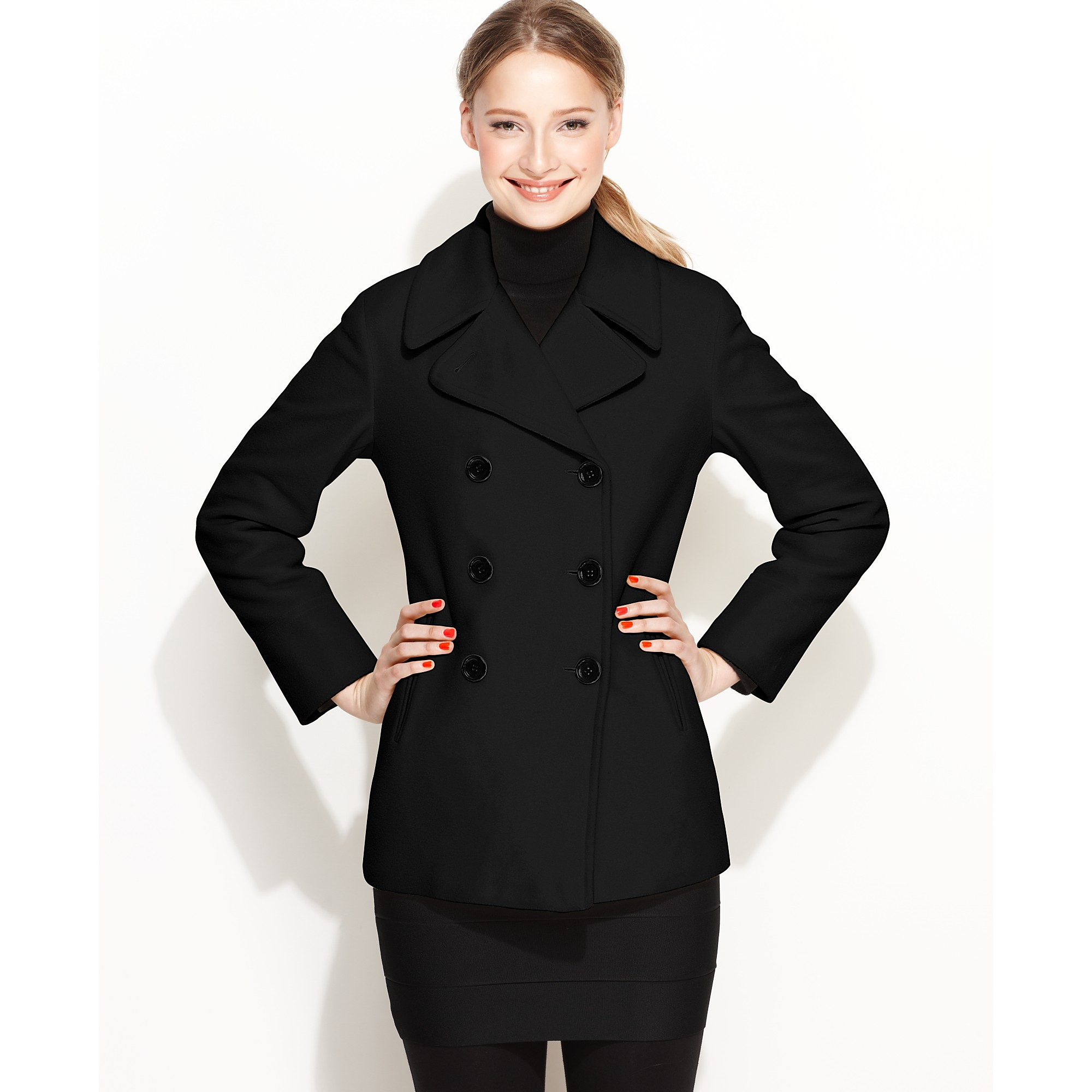 Calvin klein Wool Cashmere Blend Pea Coat in Black | Lyst